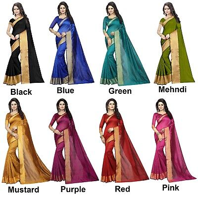 Indian Women Wedding Designer Cotton Saree Traditional Party Wear Bollywood Sari