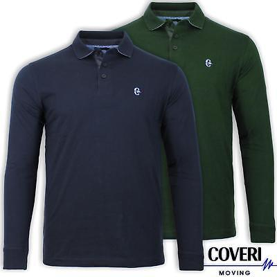 Polo uomo manica lunga in cotone jersey sottocollo in contrasto COVERI MOVING