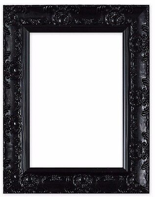 Wide Ornate Shabby Chic Antique Swept Picture Frame Photo Frame Black Muse