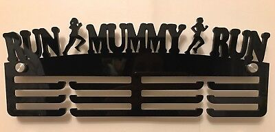 Thick 5mm Acrylic 3 Tier RUN MUMMY RUN Medal Hanger / Holder / Rack