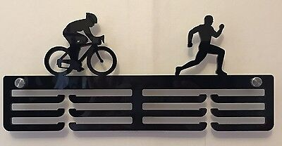 Thick 5mm Acrylic 3 Tier MALE DUATHLON Medal Hanger / Holder / Rack