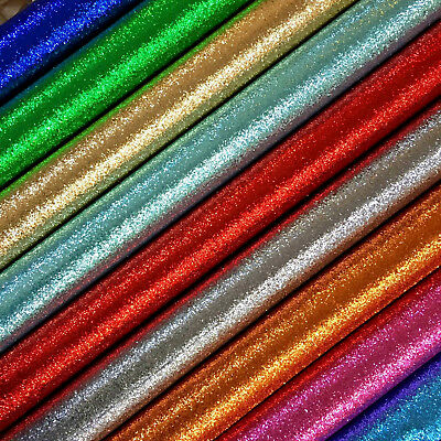 MEDIUM Chunky Plain Glitter Fabric A4 Sheets Faux Leather For Bows & Crafts