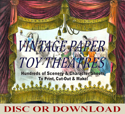 ☆ VINTAGE PAPER TOY THEATRE TEMPLATES ☆ 100's Images ☆ PRINT, CUT OUT, MAKE! ☆