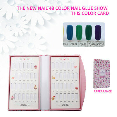 AL_ HK- 48 Colors Nail Gel Polish Color Card Display Book Manicure Art Tool Natu