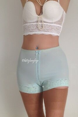 New Vintage Turquoise Panty Girdle Hidden Suspenders size 12