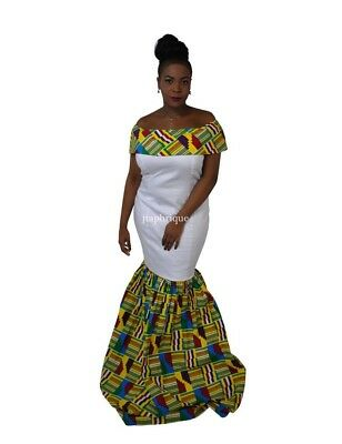 African Kente White Mermaid Traditional Occasion/Prom/Wedding Dress