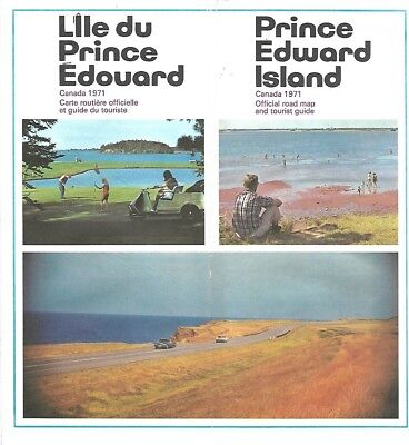 1971 PRINCE EDWARD ISLAND Official Highway Road Map Charlottetown Oyster Ferries