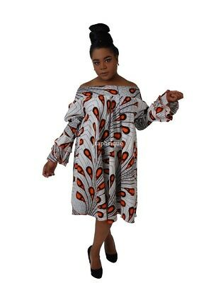 African Print Shirred Elastic Traditional Occasion/Wedding Dress