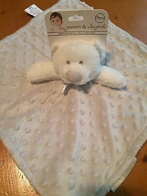 NWT Blankets & Beyond Grey And White Minky Dot Bear Lovey Security Blanket Gray