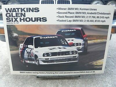 Original Factory BMW Dealer Showroom Poster E30 M3 Watkins Glen 1987
