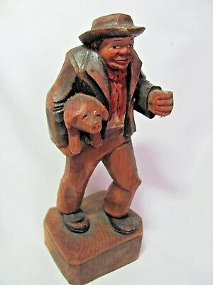 Vintage Hand Carved Figurine Man with Pig Under One Arm Anri German Austrian ???