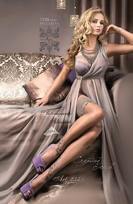BALLERINA Luxury Fine Sheer Lace Top Patterned Hold Ups Grey SLIVER S M L XL 235