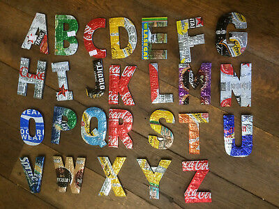 Recycled Upcycled Tin Can Wood Letters Coca-cola Sprite Beer water coffee etc.