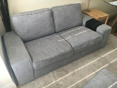 IKEA Kivik Grey 2 Seater Fabric Sofa With Footstool U0026 Storage