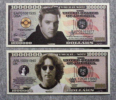 Set of 2 diff. fantasy paper money Beatles and Elvis