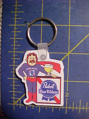 Vintage Unused Pabst Blue Ribbon Cool Blue Man Key Ring! Pbr Keychain Chain Rare