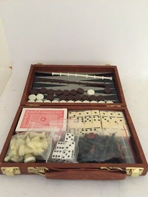 Vintage 7 In 1 Travel Game Set Chess Checkers Dominoes Backgammon NEW IN BOX