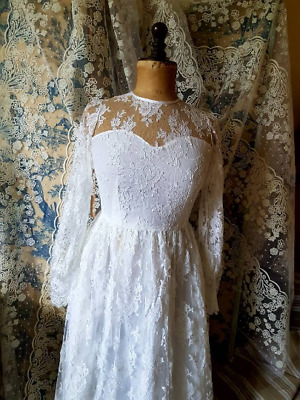 Vintage French Art-Deco White Lace Wedding Dress Marriage,Mariage,Pearl Buttons