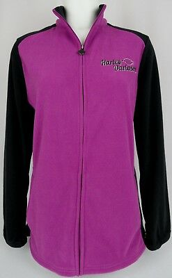 Harley-Davidson Motorcycles Women's Full Zip Fleece Jacket Size XL Purple Black
