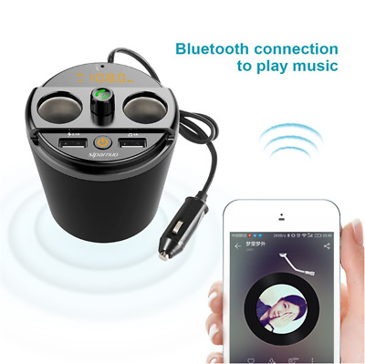 Bluetooth FM Transmitter Car Music MP3 Player HandsFree Car Kit Cup Holder