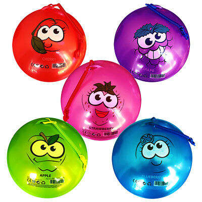 Kids Punch Balls Bounce Bop Smelly Coloured Smiley Fruit Scented Keychain