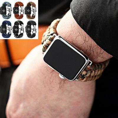 Mens Weave Rugged Durable Strap Watch Band For Iwatch Le 42 38 Mm