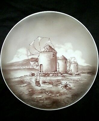 "Vintage Greek Ceramic hand painted glazed ""Mykonos Windmills"" plate 13"""