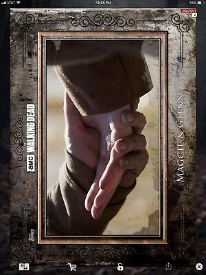 Topps Walking Dead Digital Maggie & Glenn Brown Set Complete W/award