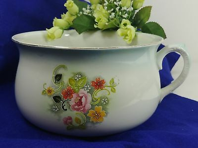 Vintage Chamber Pot Commode Stamped England w/ Single Handle & Floral Pattern