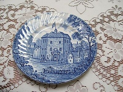 Blue and white china plate small Shakespeares country  Global Theatre Ridgway