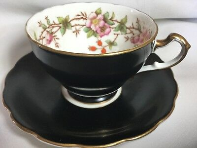 Staffordshire Bone China Cup And Saucer England   Floral Pattern