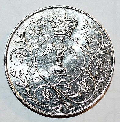 1977 GREAT BRITAIN silver LARGE CROWN Queen Elizabeth JUBILEE COMMEMORATIVE BU