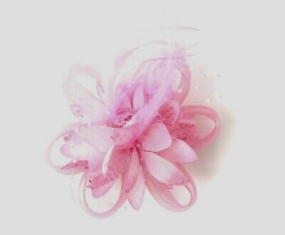 Pink Feather Fascinator Hair Clip Ladies Day Races Party Wedding
