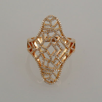 Junnay 18ct Rose Gold London Cracked Paint Effect Cocktail Ring