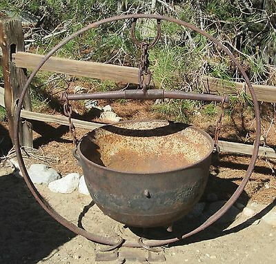 Antique Garden Planter Cast Iron Cauldron Single Tree Steel Wagon Tire Folk Art