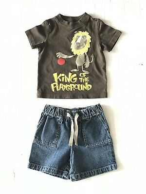 Circo 2 Piece Outfit Brown Shirt With Lion And Jean Shorts Infant Boys Size 18 M
