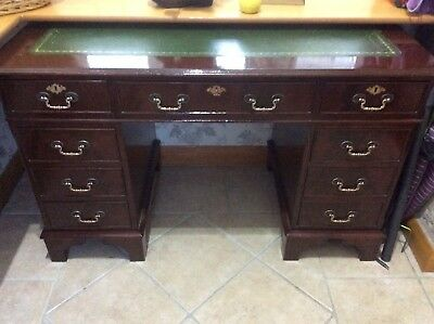 Antique Style Reproduction Twin Pedestal Captains Desk With Green Leather Top