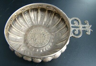 ORIGINAL Spainish Colonial Coin 8 Reales Silver Wine Tester SOMMELIER TASTEVIN