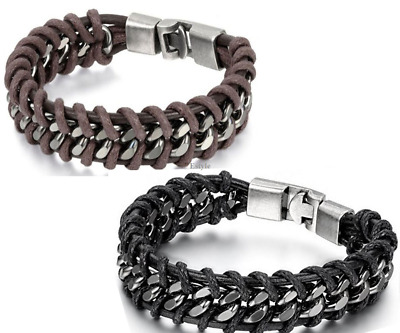 Men's Braided Leather Silver Stainless Steel Cuban Curb Chain Bracelet Bangle