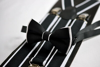 Boy Baby Kids Black  White Cotton Bow Tie Suspenders Braces Sets 1-8 Years Old