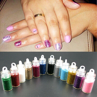 Glitter Caviar Micro Beads Phosphor Powder Nail Art Decorations Colors 12pcs,