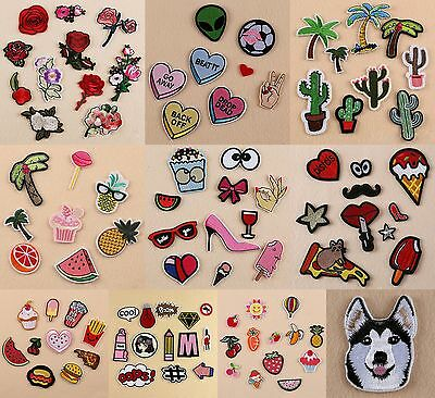 10 Style Embroidered Iron On /Sew On Patches Set Badge Bag Fabric-Applique-Craft