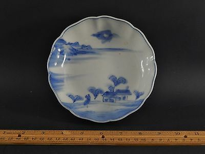 Fine Antique Vintage Japanese Blue and White Bowl Blue Fuku Type Character Mark