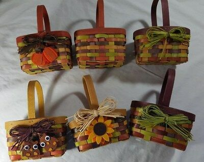 "Six 6"" x 5"" x 7"" Multi Color Wicker Baskets With Handle"