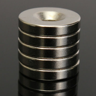 5Pcs N52 15x3mm Hole 4mm Super Strong Round Neodymium Rare Earth Magnets Ring