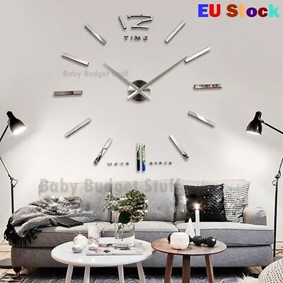 Brand New Big Large DIY Frameless Wall Clock Kit 3D Mirror Decoration Silver UK