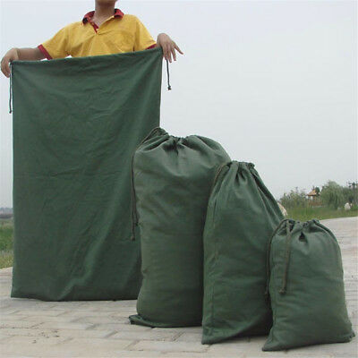 Dark Green Canvas Drawstring Large Bag Pouch Clothes Storage Home Laundry Pack