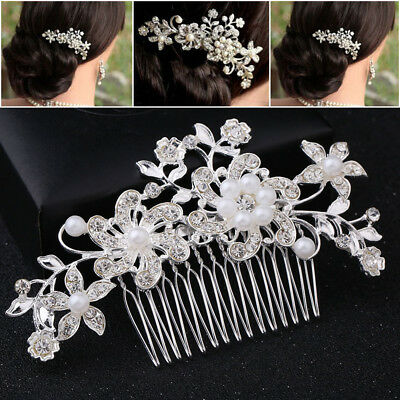 2 Piece Wedding Bridal&Bridesmaid Pearl Flower Crystal Hair Pins Clips Side Comb