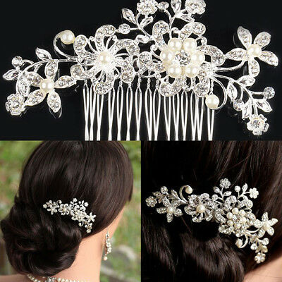 Bridal Hair Comb Pearl Crystal Headpiece Wedding Accessories Silver AU Crystal