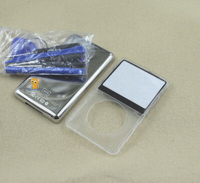 Clear Transparent Front Faceplate Metal Back Case Housing fr iPod 5th Video 30GB